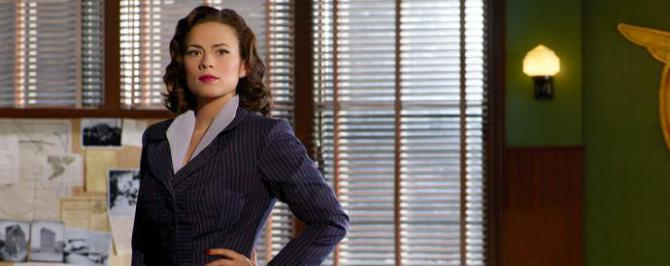 agent carter wearing a business suit