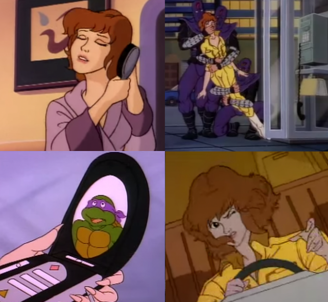 four shots of April O'Neil in the 1987 TV show