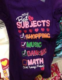 t-shirt reads: my best subjects (not math)