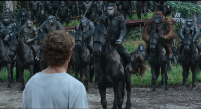 apes on horses looming over a pathetic human