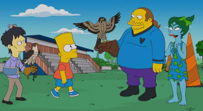 comic book guy and other characters on the simpsons cosplaying