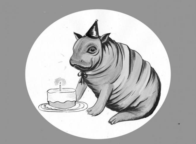 a drawing of a cute hippo wearing a party hat