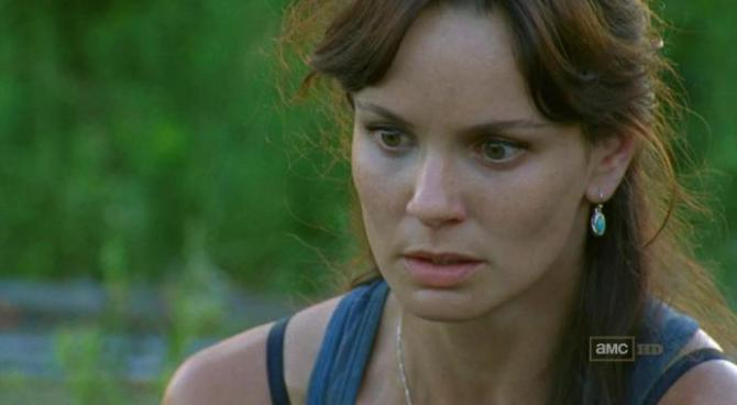 lori grimes is a white woman with reddish hair