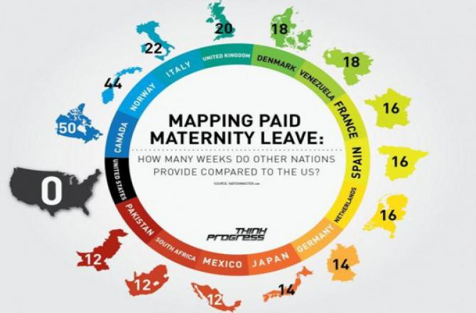 a map of paid maternity leave around the world
