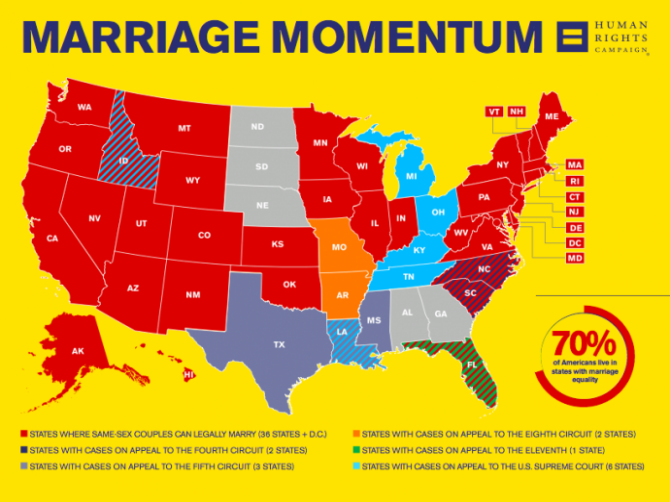 a map of where same-sex marriage is legal in the united states