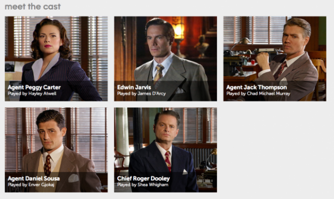 the meet the cast photos on ABC include agent carter and then five men