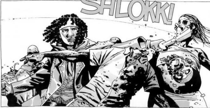 michonne is a black woman with a huge sword