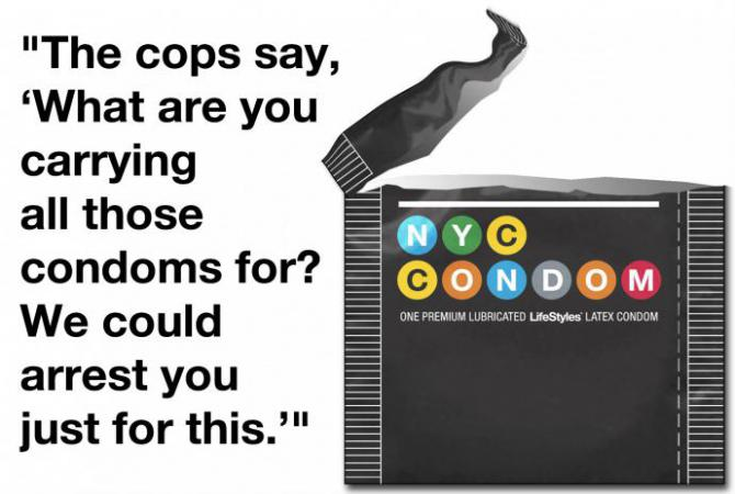 a quote about police hassling people who have condoms in their purses