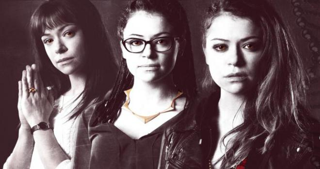 three clones of Tatiana Maslany in Orphan Black