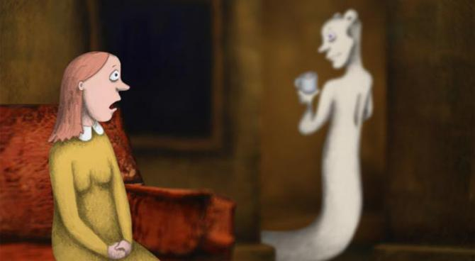 a still from rocks in my pockets shows a hand-drawn woman with a ghost behind her