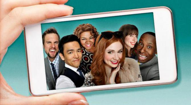 the cast of selfie, seen on a phone