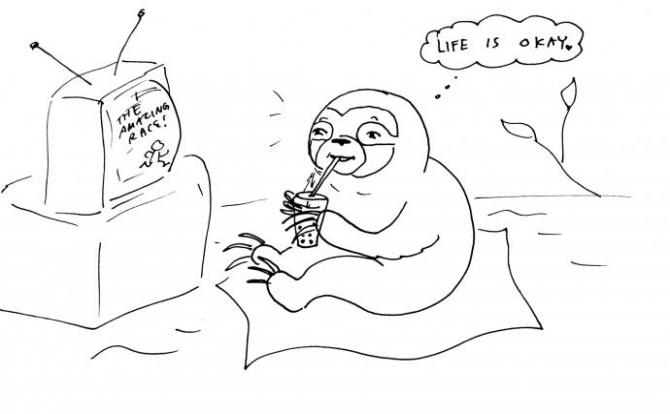 "a sloth watching TV and thinking ""life is okay"""