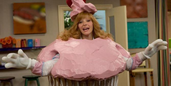 Lisa Kudrow in a giant humiliating cupcake costume