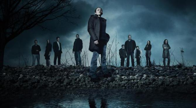 the killing cast on a dark hill surrounded by scary clouds