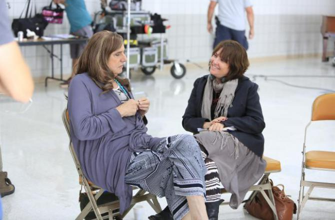 jill soloway and jeffrey tambor talk on the set of Transparent