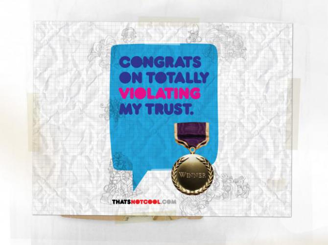 "A card says, ""Congratulations on totally violating my trust."""