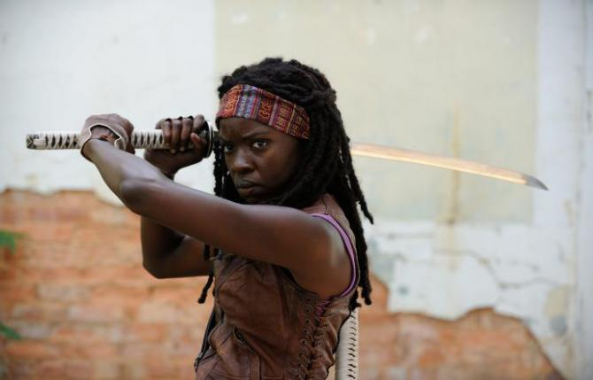 michonne with a huge sword