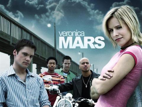 A promotional image for the television show Veronica Mars, showing the characters Veronica, Duncan, Logan, Eli, and Wallace.