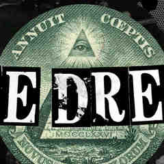 a black, white, and green collage with the eye of the dollar bill in the center and The Dream written in white type