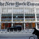 a view of the facade of NYC's New York Times building
