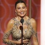 Sofia Vergara at the Golden Globes podiu,