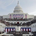 a picture of the crowd watching Barack Obama's inauguration