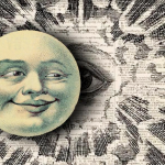 A sun with a creepy face half-covers a giant eye surrounded by sunbeams