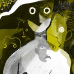 Illustration of woman in brush strokes