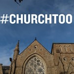 #ChurchToo written in word lettering in a blue sky above a church
