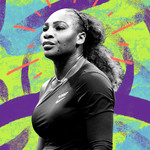 photo illustration of Serena Williams during the US Open Tennis Tournament 2018 against a multi-colored textured background