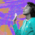 collage of a Black woman in a turquoise blazer on a multi-colored, textured background, swearing in before testifying