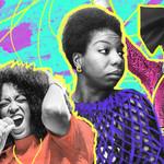 collage of Solange, Nina Simone, and Kelis on a multi colored background