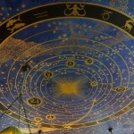 A ceiling with the zodiac on it in gold and blue