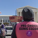 a person wearing a pink pro-choice clinic escort vest stands with their back to the camera as they look at a rally happening across the street in front of the Supreme Court