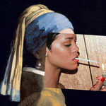 Image of Vermeer's Girl with the Pearl Earring overlaid with a photo of Rhianna lighting a cigarette