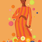 Graphic 1960s inspired illustration of Donyale Luna wearing a striped orange dress surrounded by colorful circles