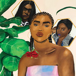 gouache painting of a Black femme in braids with roses at the ends, in her home, surrounded by plants and images of two Black trans women murdered in Dallas