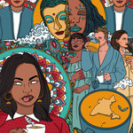 illustration of wellness motifs like turmeric lattes, Guatama Buddha, Deepak Chopra, among images of brown and white people