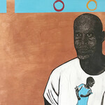 mixed-media linocut on wood of Dawud Lee, a Philadelphia-based Black writer and mentor currently incarcerated for a crime he did not commit, standing with his hands clasped in front of him wearing a white t-shirt with a drawing of a Black child posing in