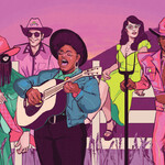 illustration of queer country artists (from left to right) Orville Peck, Patrick Haggerty, Amythyst Kiah, Karen Pittelman, and Lil Nas X along a fence in front of a rural scene with lavender stalks lining the ground