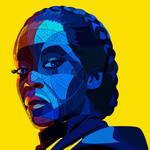 Blue graphic illustration of Regina King as Sister Night, a Black woman with short, braided hair, in Watchmen on a bright yellow background