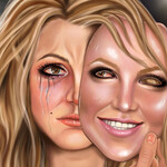 illustration of Britney Spears, a white woman with blond hair, holding up a replica mask of her face that is smiling while tears stream down her face behind it.