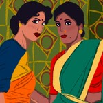 two Indian women in colorful saris huddled together looking at the viewer