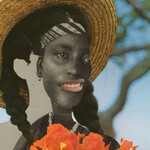 collage cutout of a woman's shape in braids and a straw hat holding orange flowers, while an image of a Black woman is peeking from inside of the cutout