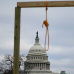 a noose is seen on makeshift gallows on the west side of the U.S. Capitol in Washington D.C.