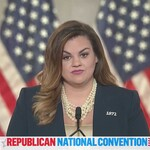 Abby Johnson, a white woman with brown hair, speaks at the Republican National Convention.