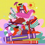 a colorful illustration shows Black people laying across a pile of books