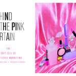 header image of article title on the right and a photograph of various makeup items stacked together into a pyramid shape with a bright pink, satin background