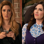 D'Arcy Carden, a white woman, as Good Janet and Bad Janet in The Good Place