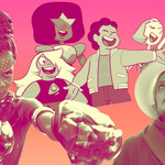 A collage of Letitia Wright, a Black woman, the characters from Steven Universe, including Steven Universe, a young, chubby white boy, and June/Offred in The Handmaid's Tale, who wears red and has her hair covered.